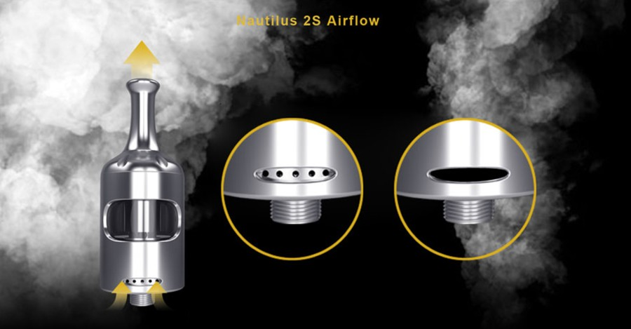 The 2ml Nautilus 2S vape tank features adjustable airflow including a large airslot for a loose inhale.