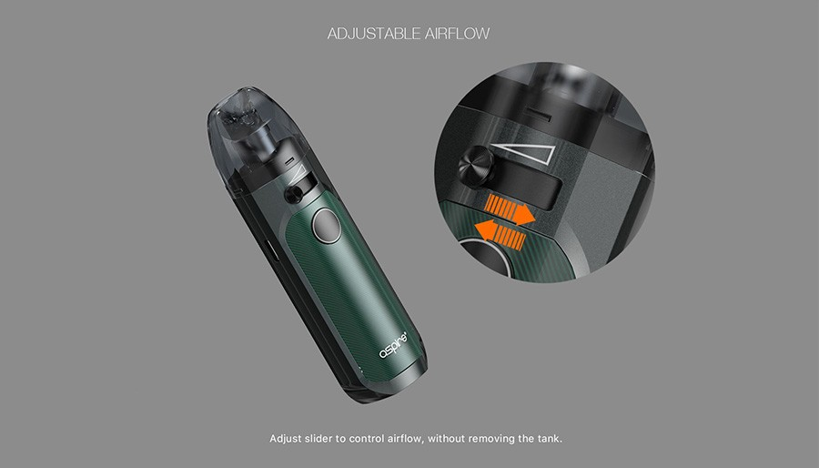 The airflow control level makes finding your ideal level of vapour production much simpler with Tigon Pod AIO kit.