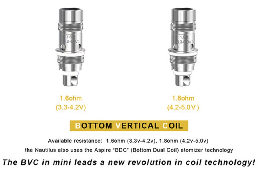 The Nautilus Mini utilises the Aspire BVC coils, available in 1.6 Ohm and 1.8 Ohm variants.