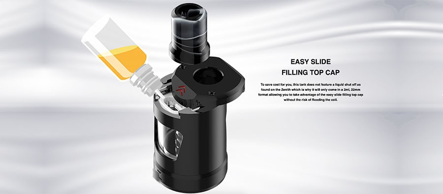 The Zlide MTL 2ml vape tank features a sliding top cap mechanism for an easy and hassle-free refill process.