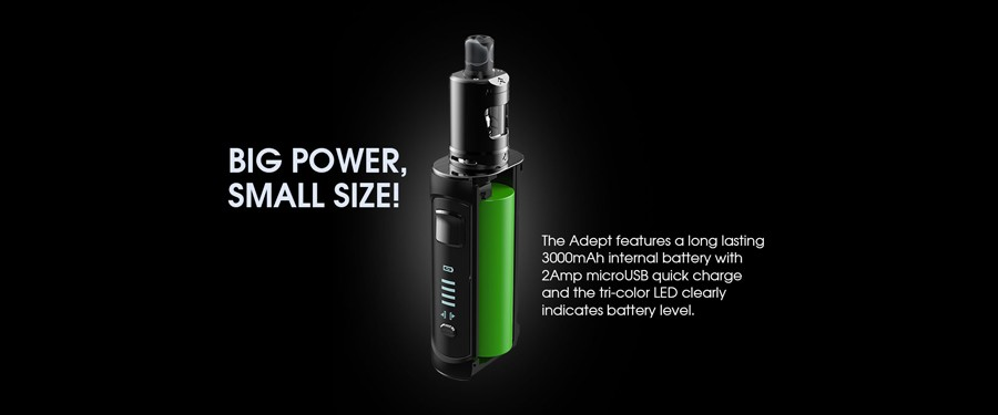 the Adept Zlide vape kit is compact but uses a large battery
