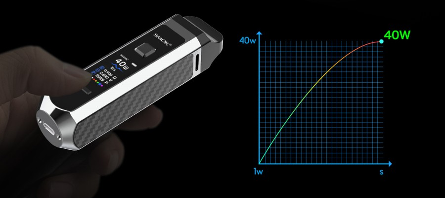 The Smok RPM40 vape kit features a variable wattage function to control vapour production