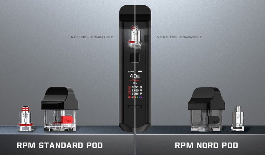 There are two Smok 2ml refillable pods available, that use either Smok Nord coil or RPM Coils.