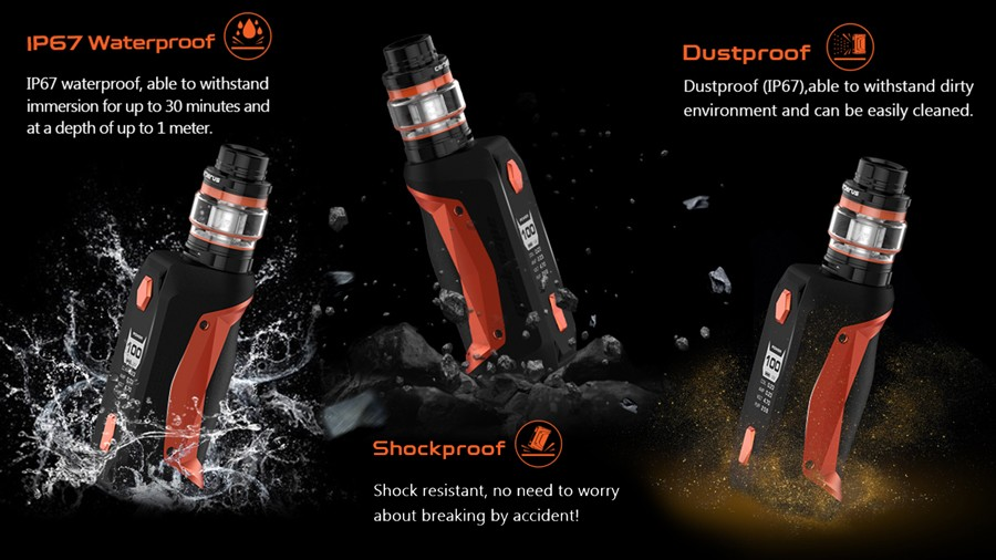 Shockproof, Dustproof and IP67 Waterproof makes the Aegis Solo a hard-wearing device.