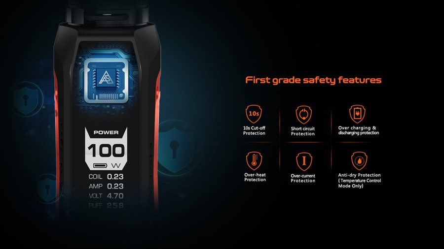 A range of safety features including Short Circuit Protection, 10-second Cutoff and Overheat protection secures the Aegis Solo for a longer lifespan.