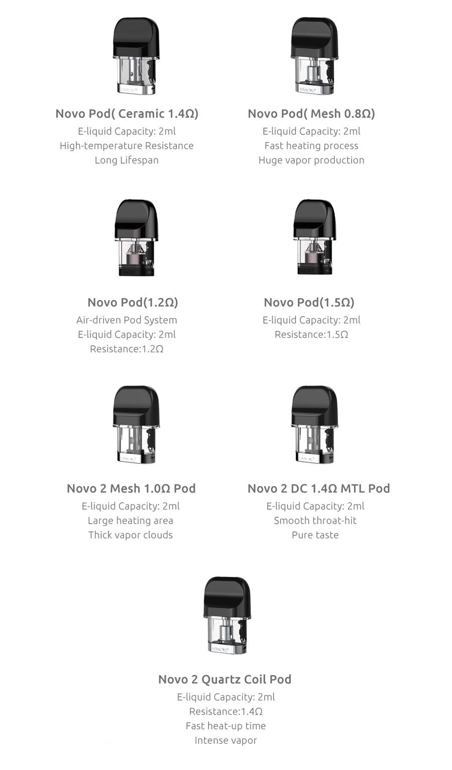 The Novo 2 utilises the original Novo pods as well as newly designed Novo 2 pods.