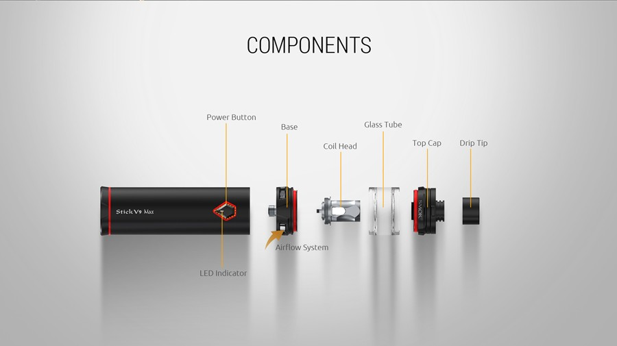 The Smok Stick V9 boasts an ergonomic pen-like construction.