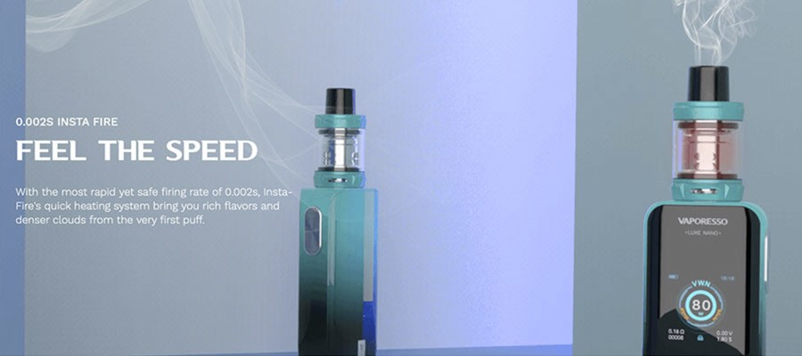 The insta-fire vape technology that the Luxe Nano sub ohm vape kit features, will increase cloud and flavour production.