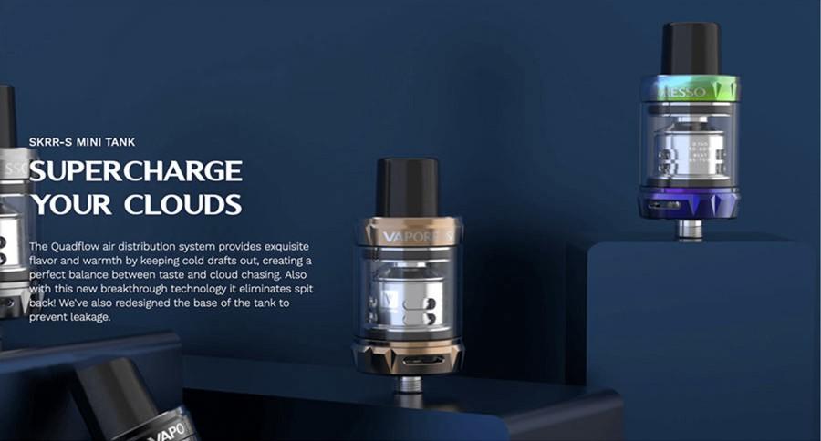 The Vaporesso SKRR-S Mini 2ml vape tank is top filling and leak-resistant. It also produces large amounts of vapour.