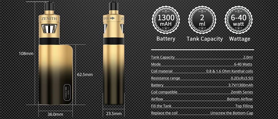 The Innokin Coolfire Mini Zenith D22 vape kit features a sleek, ergonomic design with the power to match.