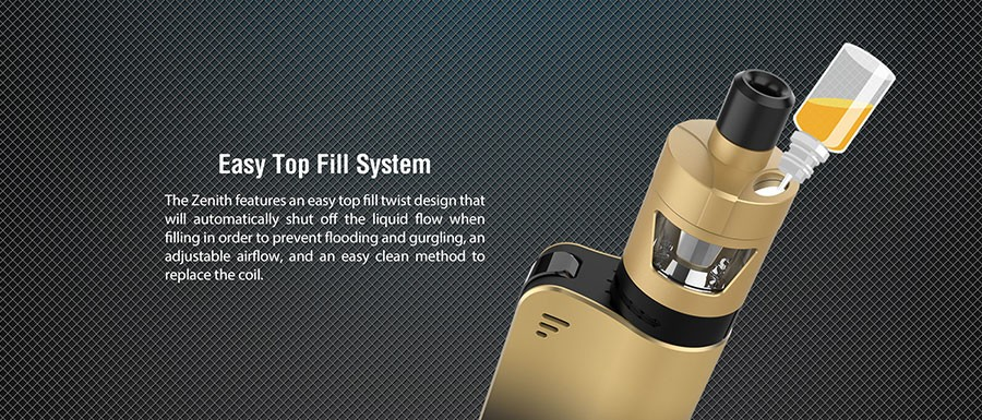 The Zenith D22 vape tank delivers a MTL inhale, adjustable airflow and can be refilled with a simple top fill system.
