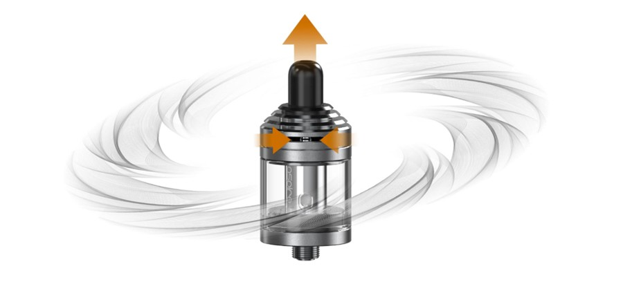 The Nautilus XS MTL vape tank features a top adjustable airflow, allowing for a tight or loose inhale.