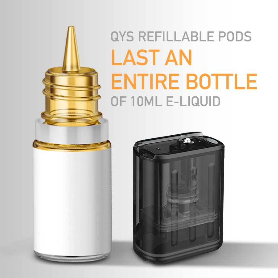 Each 2ml QYS pod is refillable and can be filled multiple times with high PG e-liquid.
