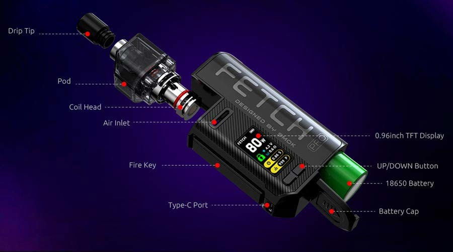 The Smok Fetch Pro vape kit is small and light, ideal for use on the go.