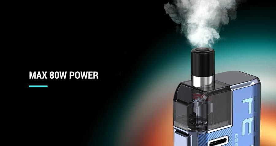 Featuring a variable power output, the Smok Fetch Pro vape kit offers 5 - 80W of power.