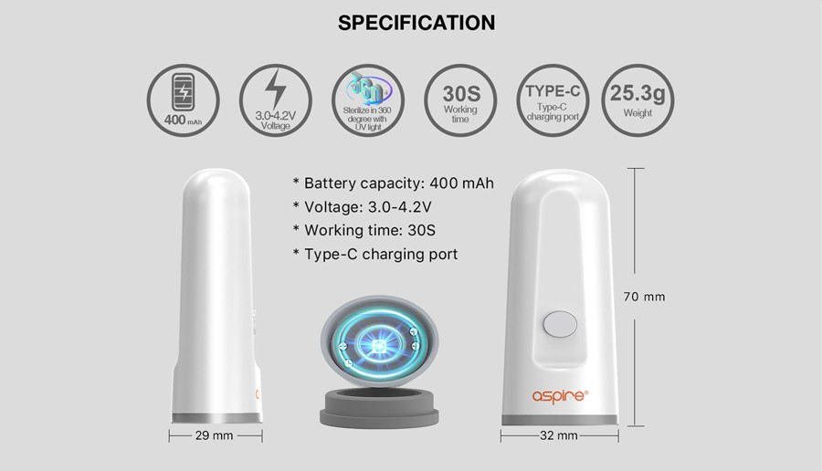 The Aspire Degerm is powered by a 400mAH built-in battery with a type C charging port for recharge.