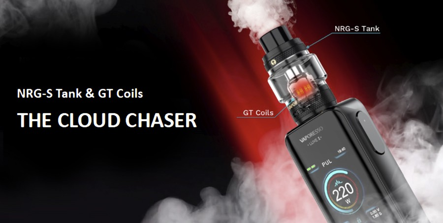 The included NRG-S vape tank has been optimised to deliver a larger amount of vapour, with Vaporesso mesh coils that increase flavour production.