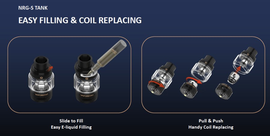 The NRG-S vape tank is easy to maintain and has modern features including top filling and 'pull & push' coils.