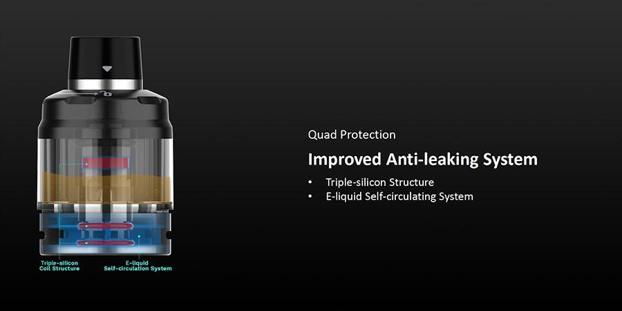 The Swag PX80 pod tank holds up to 2ml of eliquid and is simple to fill thanks to a top fill mechanism and also features anti-leak technology and responsive adjustable airflow.