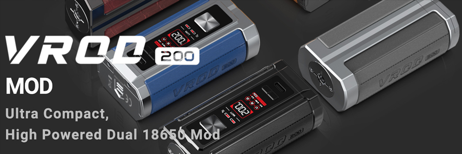 The Aspire VROD 200 vape mod is capable of a 200W output and can be used for both MTL and DTL vaping - compatible with a range of vape tanks.