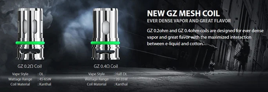 The Eleaf GZ coils have been specially designed for use with the P100 kit and there are two versions available, giving you the option of either Direct To Lung or restricted-Direct To Lung vaping.