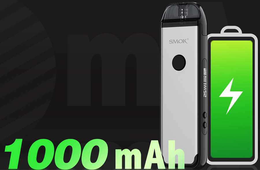 Powered by a built-in 1000mAh battery, the Smok Acro provides enough power for a full day of vaping when fully charged.