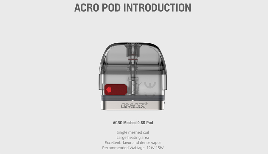 The 2ml Acro pod has been specially designed to support this kit, it features a built-in mesh coil for delivering improved flavour from e-liquid, while still ensuring discreet vapour production.