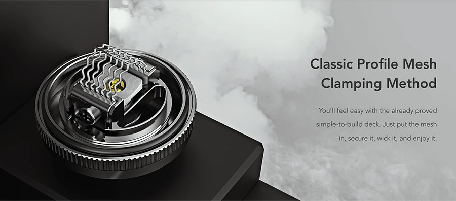 The simple clamp deck the Profile M RTA features makes coil fitting very easy and you can pair this RTA with a wide range of Wotofo rebuildable mesh coils.