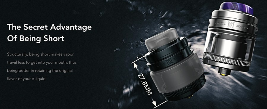 The Wotofo Profile M RTA is a short and discreet rebuildable tank atomiser that will hold up to 2ml of e-liquid and creates a large amount of vapour.