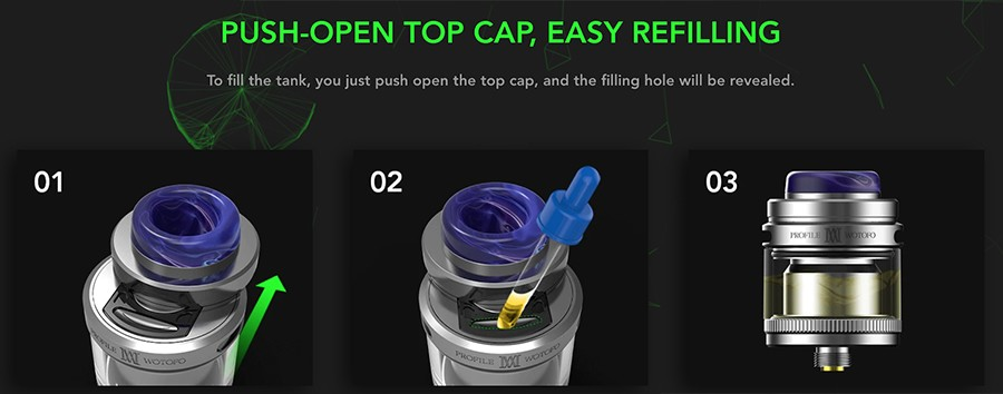 Refilling the Wotofo Profile M RTA is as easy as any tank. The sliding top-fill mechanism means the RTA doesn't have to be disassembled to be refilled and will hold 2ml of e-liquid.