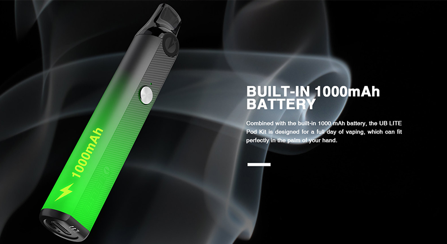 Featuring a large 1000mAh built-in battery, the UB Lite pod kit by Lost Vape can deliver up to a full day's worth of vaping between charges.