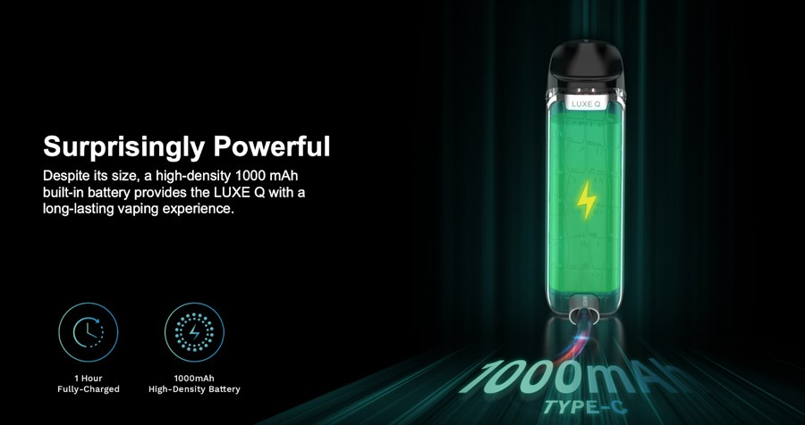 The Vaporesso Luxe G combines a compact build with a 1000mAh battery, resulting in a kit that lasts longer and still fits in your pocket.