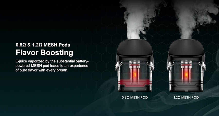 With two pod options to choose from, it's now easier than ever to find your perfect vape. Both the 0.8 Ohm and 1.2 Ohm pods feature a mesh coil that delivers improved flavour production.
