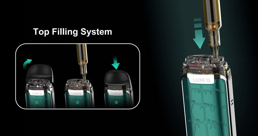 Capable of holding up to 2ml of e-liquid, each Luxe G pod features top filling for a quick and clean refill every time.