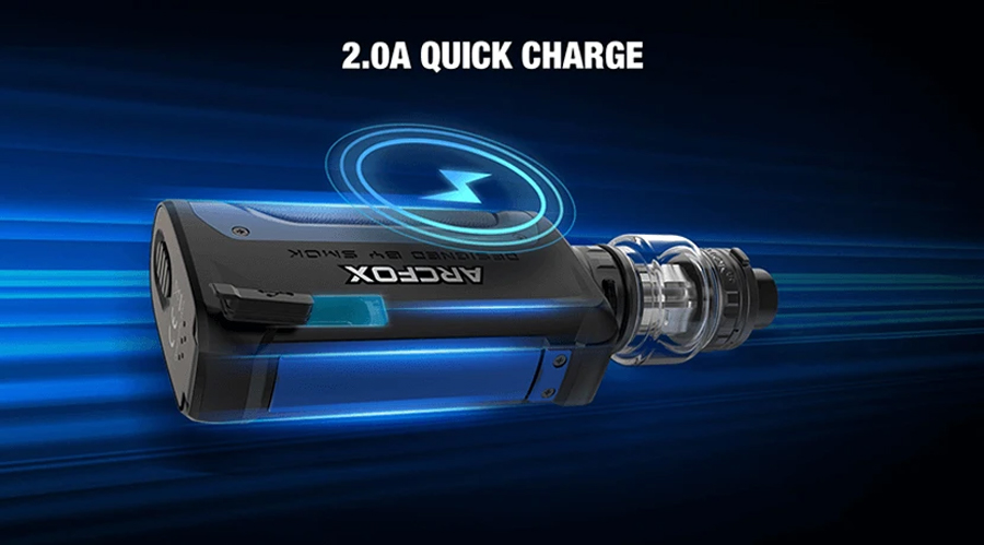 Relying on the power of two 18650 vape batteries, the Smok Arcfox supports internal charging with a fast 2A charging current.