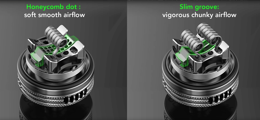 Offering an even deeper level of customisation, you can choose between two airflow plate inserts. The honeycomb airflow allows for a more relaxed draw, the two slot airflow allows for improved vapour production.