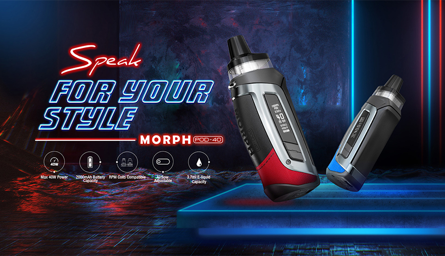 The Smok Morph Pod-40 vape kit is a compact and versatile option that supports MTL & DTL vaping.