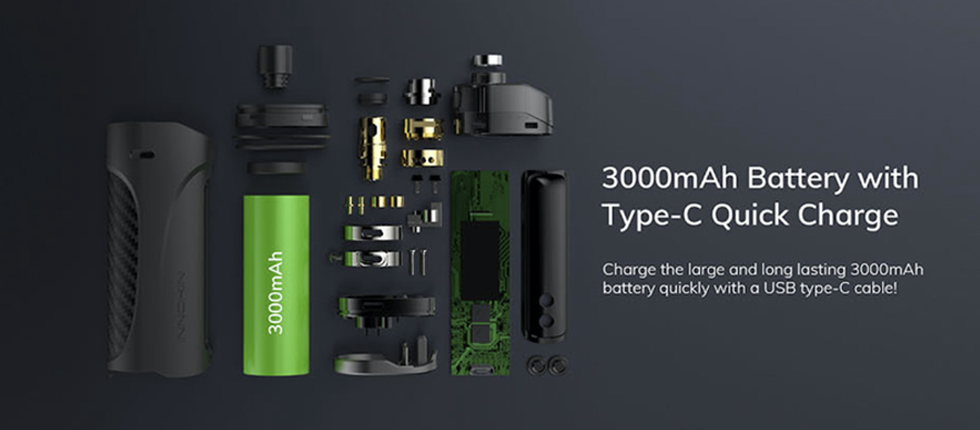 The Innokin Kroma-Z is a pod mod kit powered by a 3000mAh battery and can deliver a MTL or RDL inhale.