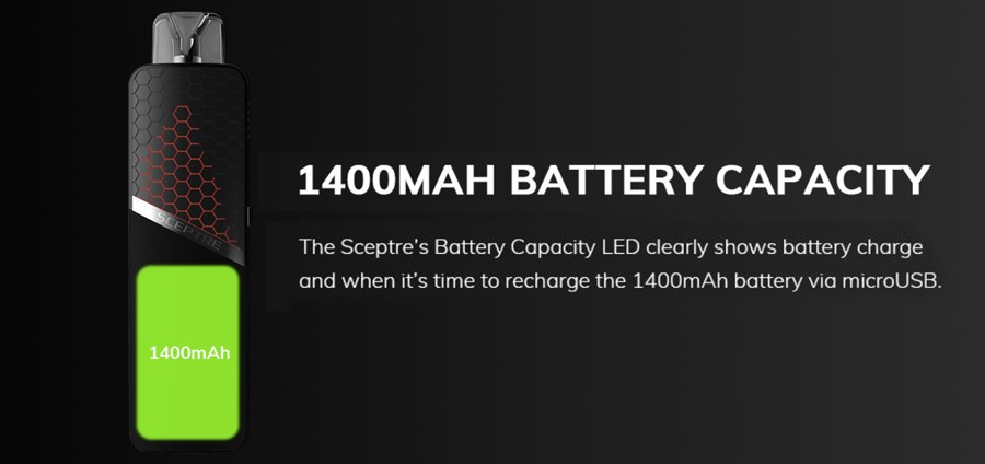 The Innokin Sceptre is a removable coil pod kit powered by a 1400mAh built-in battery.