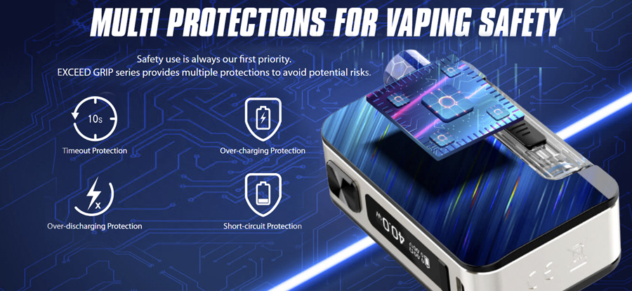 Featuring an intelligent chipset, the Joyetech Exceed Grip Pro offers protection against overheating, short circuits and more.