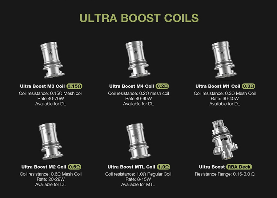 The Ultra Boost X tank is compatible with the Ultra Boost coil series, available in sub ohm, MTL and RBA variants to accommodate different vaping styles.