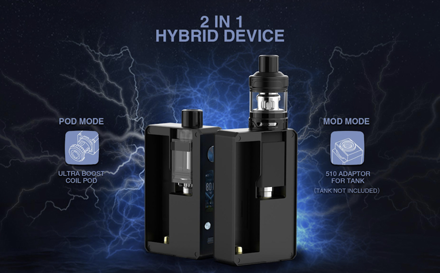 The Gemini Hybrid pod kit can be used as a vape mod by installing the 510 mod adapter.