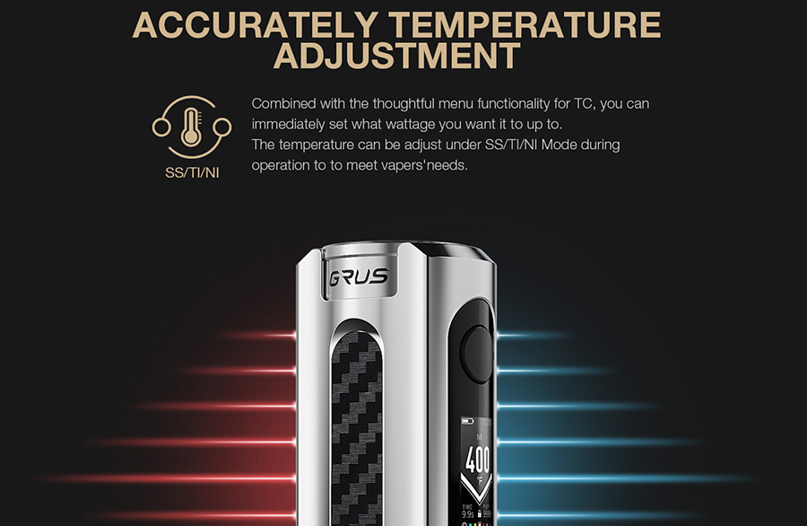 Designed to increase compatibility, the functional Temperature Control Suite can be used with a range of coil wire including Stainless Steel, Titanium and Nickel.