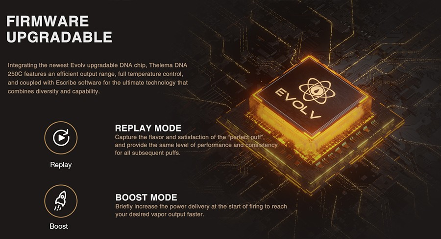 Experience upgradeable performance with Escribe software and combine it with the wide range of output modes to turn the Thelema into your own custom mod.
