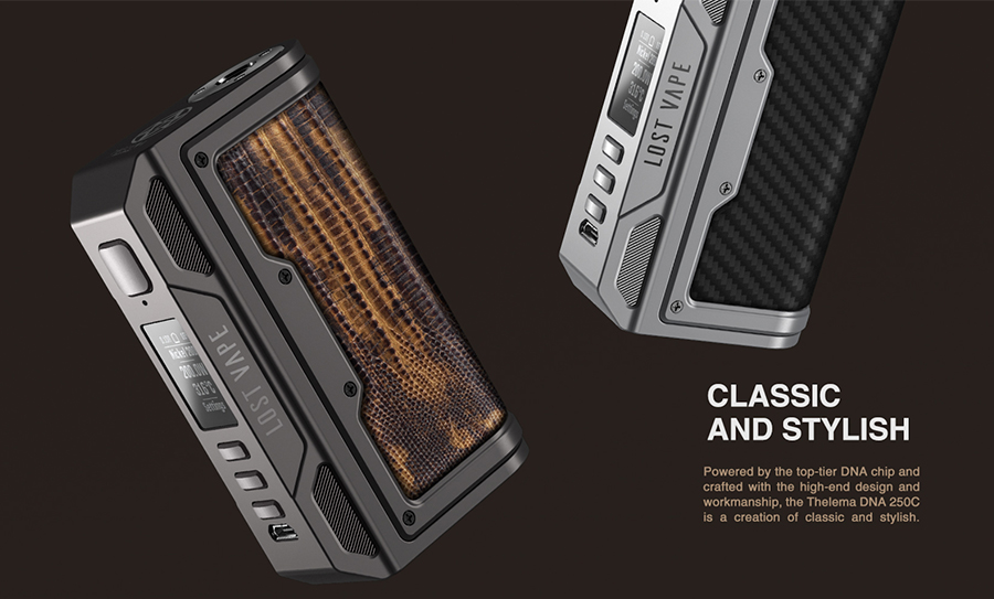 Not just technically advanced, the Thelema 250 sub ohm vape device features a classic aesthetic with stylish design features such as custom inlays and a clear digital display.