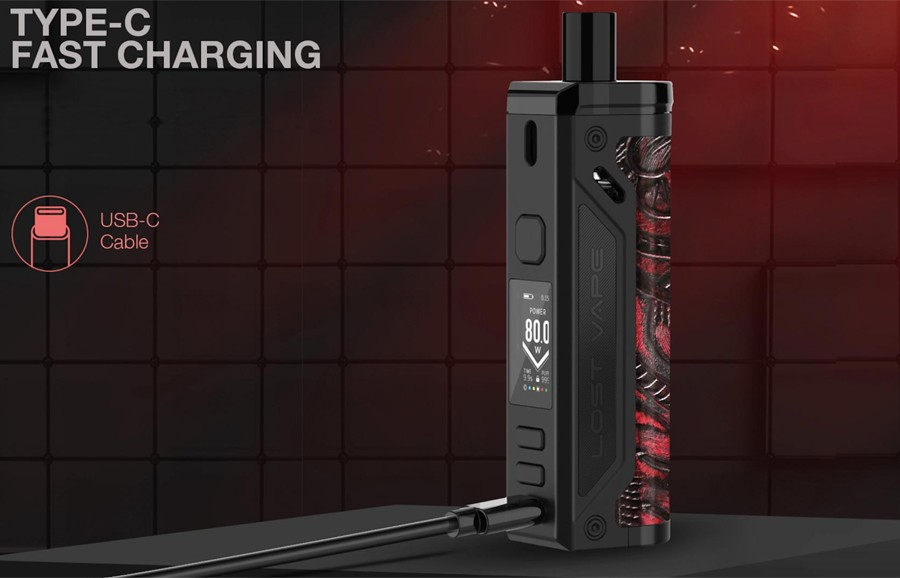Thanks to USB-C fast charging, you can recharge the Thelema kit by Lost Vape in just over an hour on average.