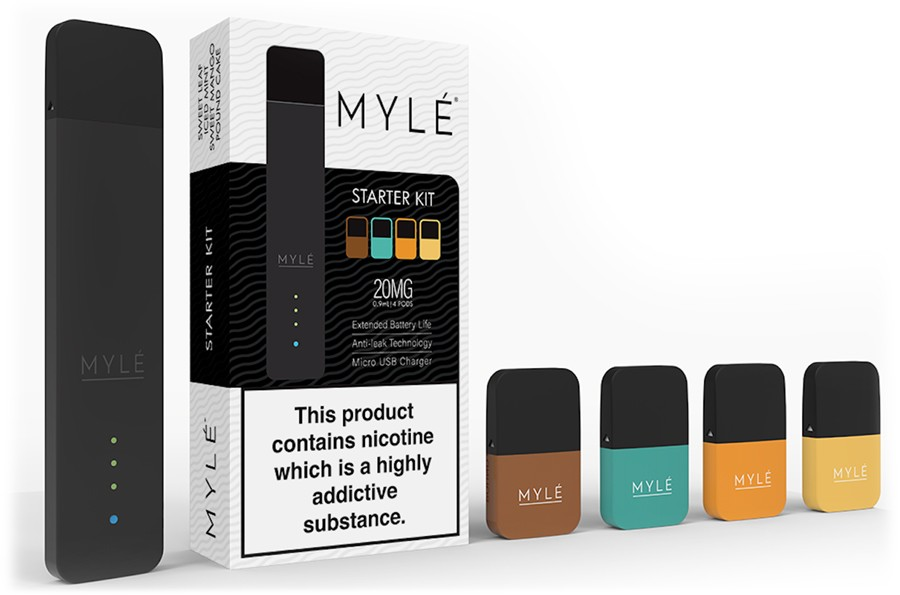 The Myle starter vape kit contains everything you need including a reliable pod device and four prefilled e-liquid pods.