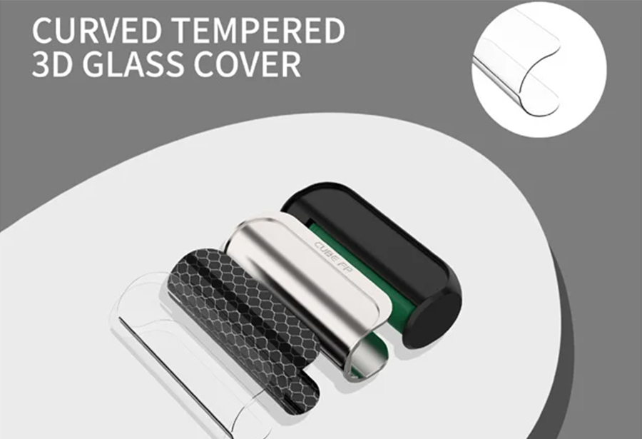 The 80W Cube FP mod features a sleek and lightweight design, complemented by a 3D glass cover for added protection and a stylish, ergonomic tough.