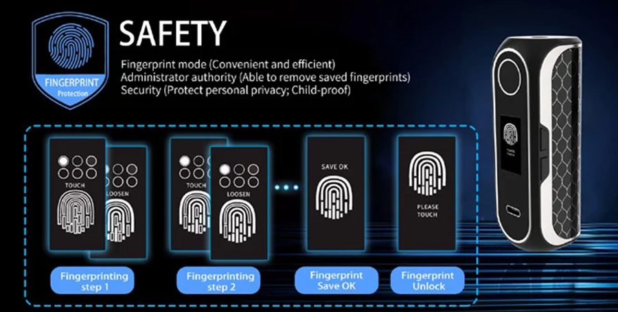 The OBS Cube FP mod features high-tech fingerprint recognition technology, securing the device through innovative authorisation.