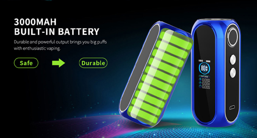 The OBS Cube Pro mod is equipped with a 3000mAh built-in battery, striking the ideal balance between power and output.